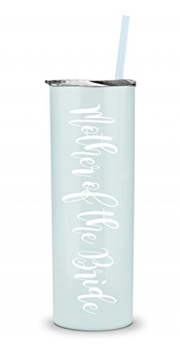 BRIDE Tumbler – Bridal Party stainless steel skinny tumbler – 20oz. Skinny Stainless Steel Tumbler 20 oz – Bride Tumbler Gift (Seafoam – Mother of the Bride)