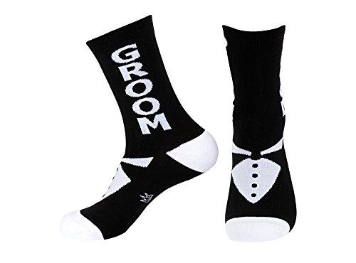 Unisex-Adult Groom Wedding Party Black And White Crew Socks – Groom